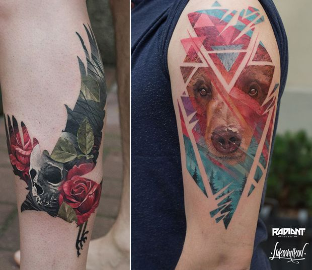 Tatuagens em dupla exposição por Andrey Lukovnikov, Polônia;