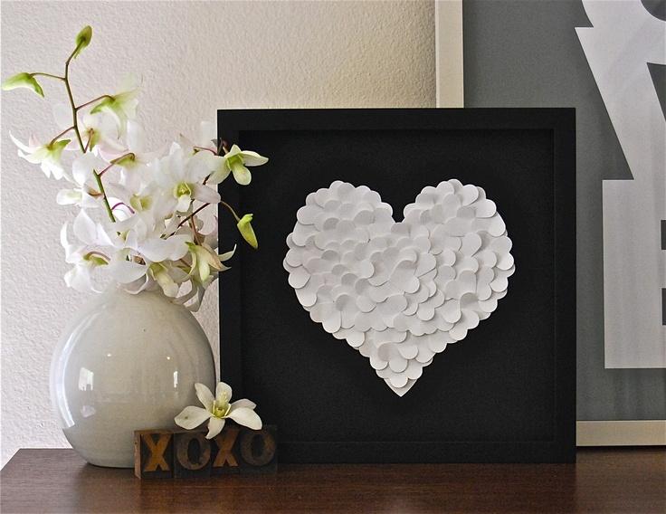 Paper Heart Art - White Heart on Black. $45.00, via Etsy.