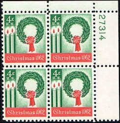 US #1205 Stamps for sale  4 cents Christmas 1962 Stamps MNH  Wreath and Candles  Plate Block of 4  UR 27314  US 1205-17 PB