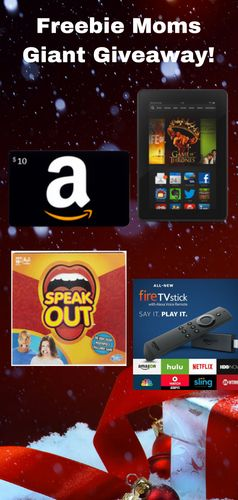 Freebie Moms is giving away 10 $10 Amazon Gift Cards, 3 Speak Out games, 3 Fire Sticks, & 1 Fire Tablet! Register to Win Here: http://momstuff.com/giantgiveaway