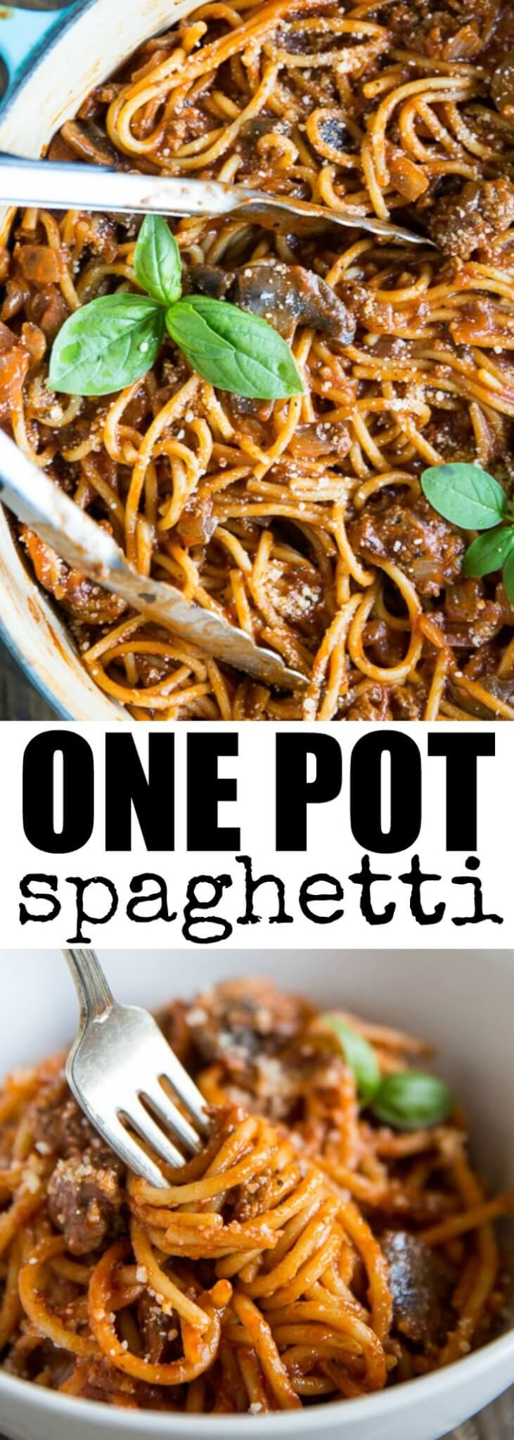 This delicious, easy One Pot Spaghetti is perfect for busy weeknights! The noodles go right in the pot uncooked. Make it with beef, sausage, or both. via @culinaryhill