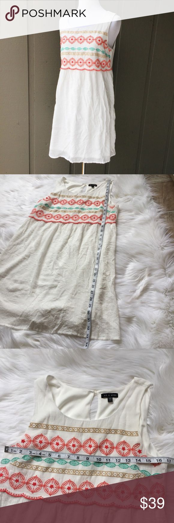 "As U Wish White Aztec Short Tank Sleeve Mini Dress Measurements: Length: 33"" and Chest: 33"" Material: Self: 60% Rayon and 40% polyester, Lining: 100% Polyester Condition: Excellent! As U Wish Dresses Mini"