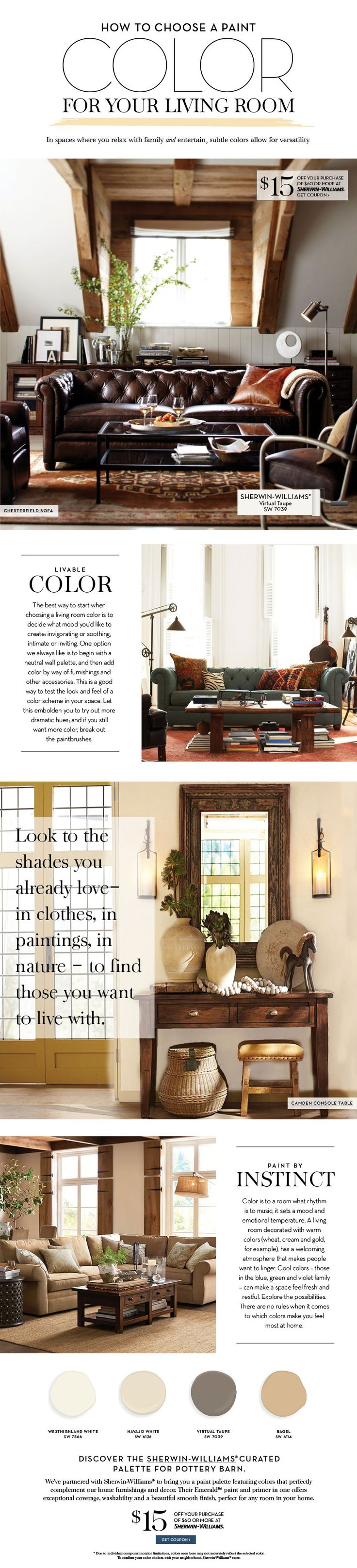 Like the entry table with stool under. Choose a Paint Color For Your Living Room   Pottery Barn