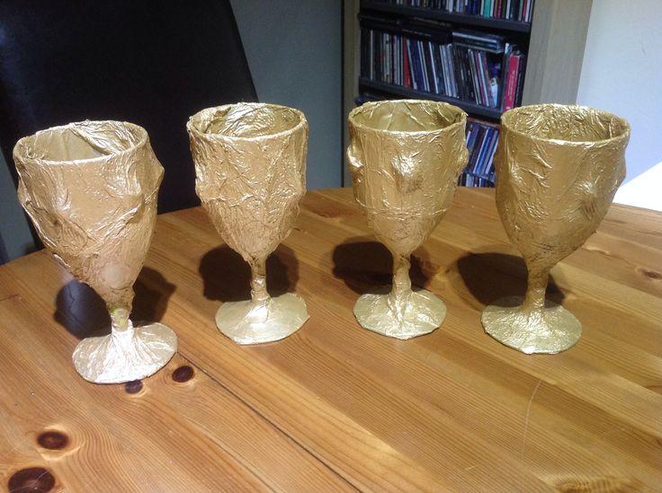 Roman Golden Goblets Homemade Using Plastic Picnic Wine