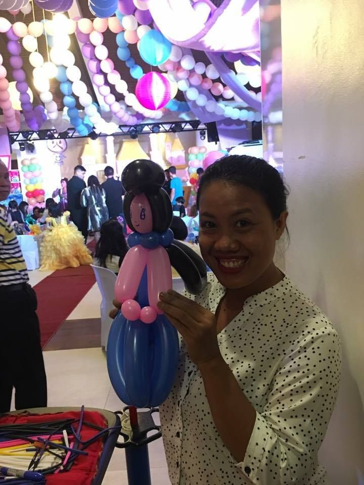 affordable balloon twisting Balloon decor angeles city balloon princess in blue dress Contact 0947-893-6701 Breth Entertainment