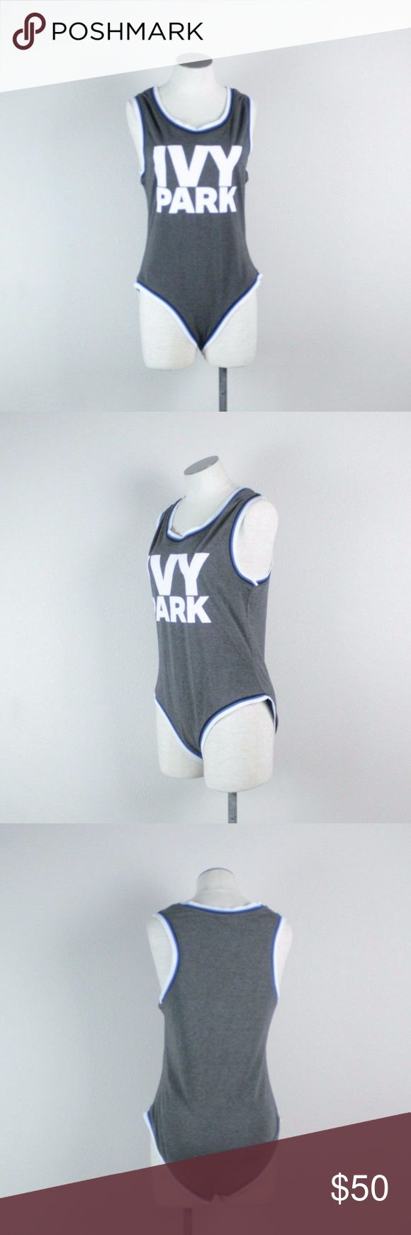 Ivy Park Logo Grey Stripe Bodysuit One Piece M Ivy Park Grey White Blue Logo Bodysuit One Piece Size Medium  New with tags missing sales tags  Made in Turky  58% Polyester 30% Viscose 12% Elastane  Measurements taken with the garment laid flat and not stretched: Armpit to armpit 16 inches Length - shoulder to crotch 29 inches Ivy Park Tops Tank Tops