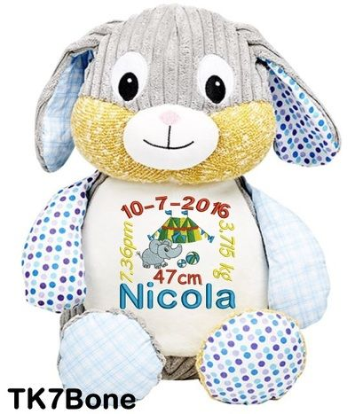 Personalised Harlequin Blue Rabbit Cubbies are special types of personalised teddy bear animals that can be embroidered. Personalised Hug-Me Cubby - Harlequin Blue Rabbit (Birth Design).