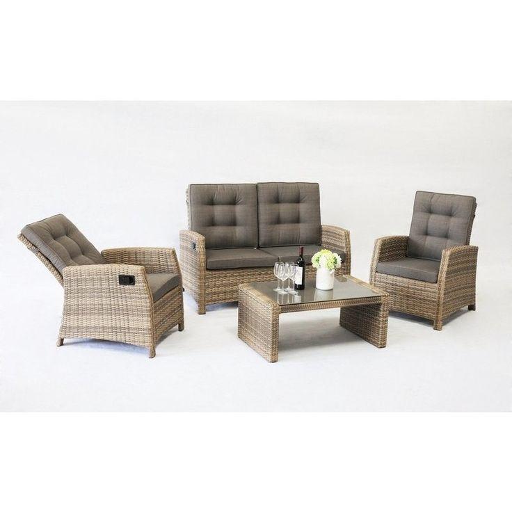 Positano Outdoor 4 Piece Wicker Lounge Set in Taupe   Buy Wicker Outdoor Furniture
