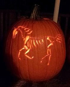 Want to go for a spookier look? Carve a horse skeleton!