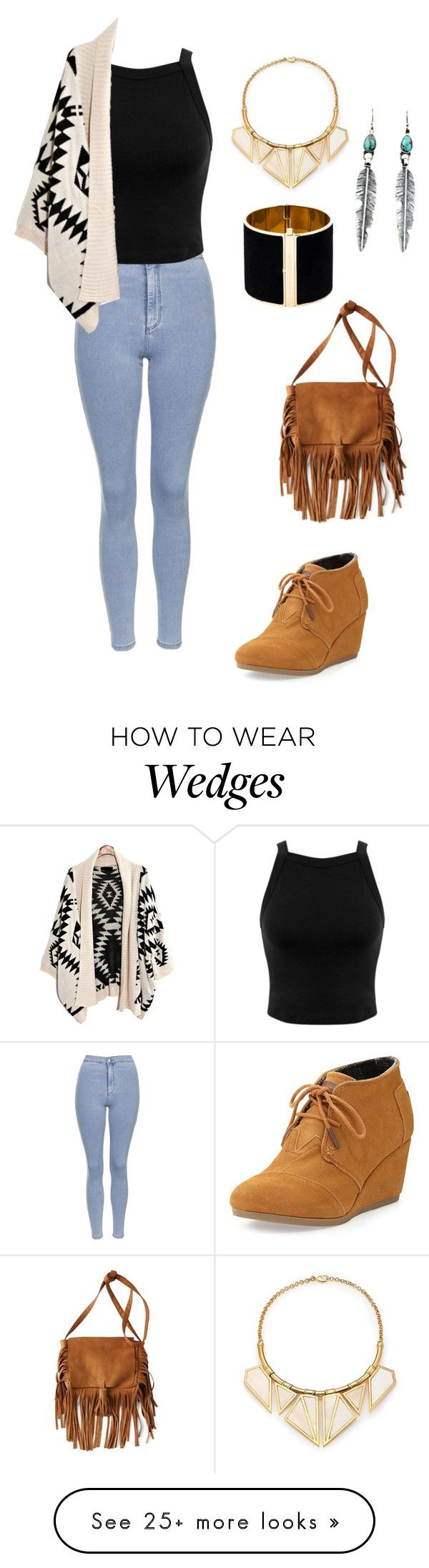 """Toms wedge booties #94"" by thereseatarwang on Polyvore featuring TOMS, Topshop, Miss Selfridge, Dsquared2, A Peace Treaty and American Eagle Outfitters"