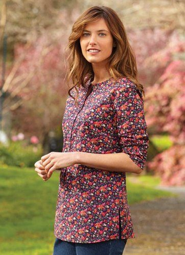 Navy Floral Popover Tunic $59.00