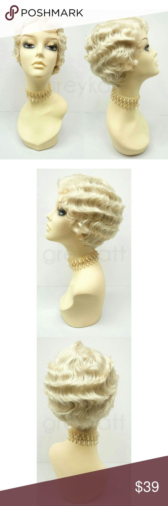 """Light blonde Gatsby flapper finger waves wig Create a 1920s-inspired look with these beautiful marcel finger waves. Made with heat resistant synthetic fibers.  Color: Blonde (613) Circumference: Adjustable 21"""" - 22"""" inches Materials: Heat Resistant Synthetic Fibers  Wig prices are firm. Accessories Hair Accessories"""
