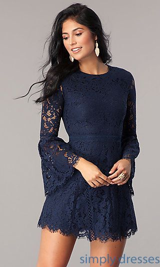 2c2abbf85f4 Shop navy blue short lace wedding-guest dresses at Simply Dresses.  Semi-formal party dresses under  100 with long bell sleeves and a-line  skirts.