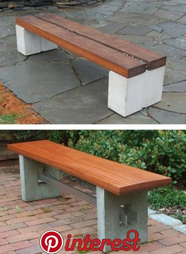 Concrete Concrete Blocks And Wood Provide The Ideal Combination Of Materials For Building Inexpe Wood Bench Outdoor Garden Bench Diy Cinder Block Furniture