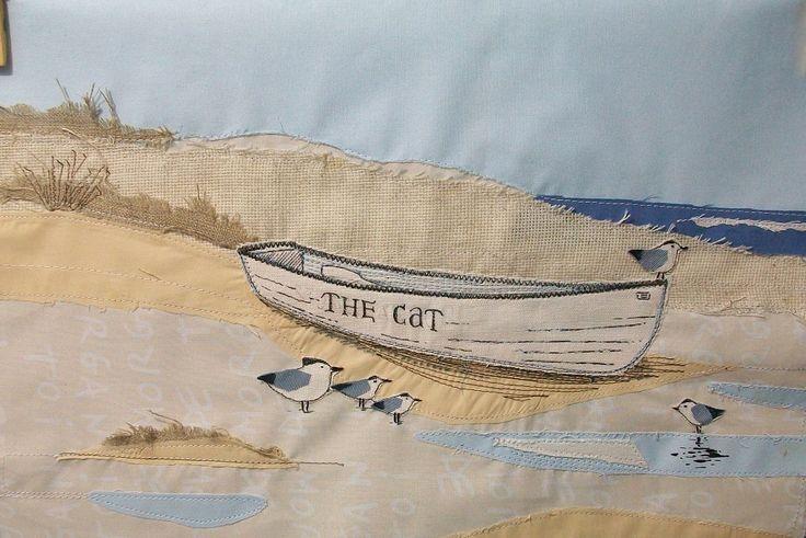 Seaside landscape textile art