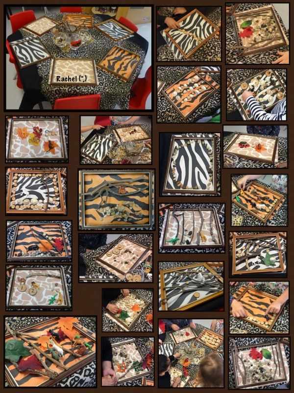 "Transient art with empty frames, animal print paper and loose parts - from Rachel ("",)"