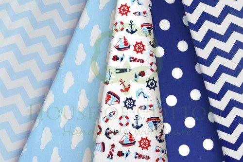 Sky & navy blue marine cotton fabric set with anchors, lighthouses, boats, dots, clouds & chevron / Zestaw marynarski