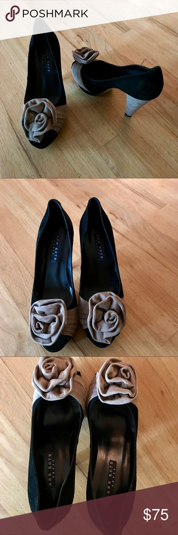 Ann Roth Black and Mushroom Suede Charisma Shoes Ann Roth Black and Mushroom Suede Charisma Shoes.  Beautiful black suede shoes with mushroom color accents and large rosette detail.  Ann designed and sold shoes for several years in boutiques and on line.  Good condition, found a dark mark on the side of on shoe (see pic)  but does not show when wearing.  I have not tried to clean it off.  Made in Spain Ann Roth Shoes Heels