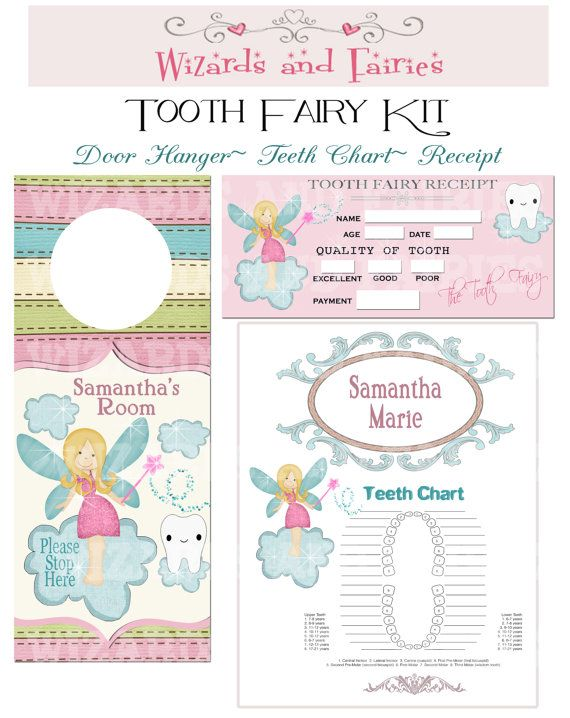 Tooth Fairy Diy Printable Package Personalized Tooth Fairy Teeth Chart Tooth Receipt