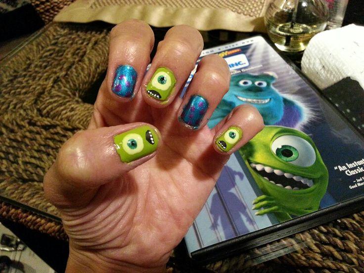 Mike Wazowski nail! Monster's Inc nail art. Disney nail art