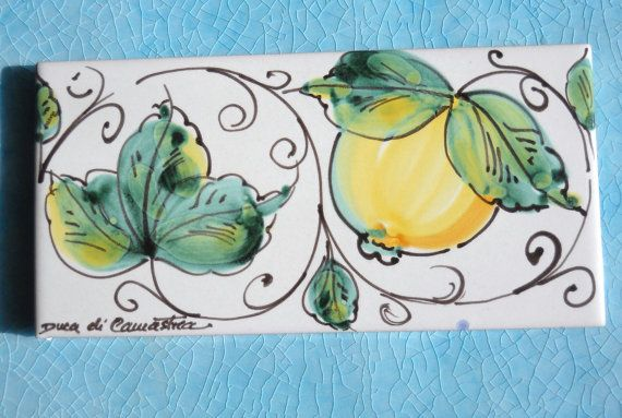 Vintage Tile Sicily  Decorative Ceramic Tile  lemons  by mipana, €12.80