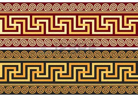 ornement grec d or et bleu et motif floral sur un fond rouge