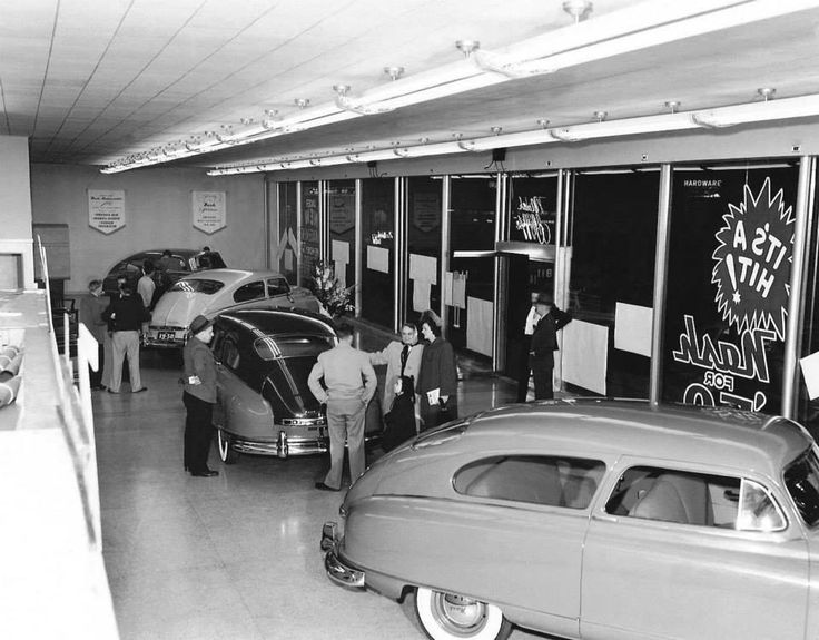 "Old Car Dealers >> ""IT'S A HIT! Nash for '50!"" 1950 Nash Airflytes on the showroom floor. 