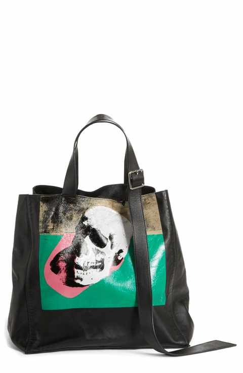 dfd23f19cc7 Calvin Klein 205W39NYC Andy Warhol Foundation Skull Leather Tote ...