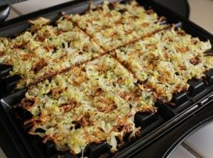 Hash Browns with summer squash and zucchini - cooked on a waffle iron