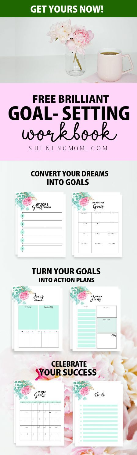 Turn your dreams into action plans with this free printable goal setting worksheet! Grab your 2018 planner now! #2018 #planner #printables #goals #goalsetting