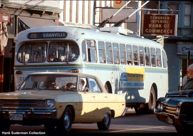 Brill Bus in Vancouver 70's photo--nice Dodge Dart!