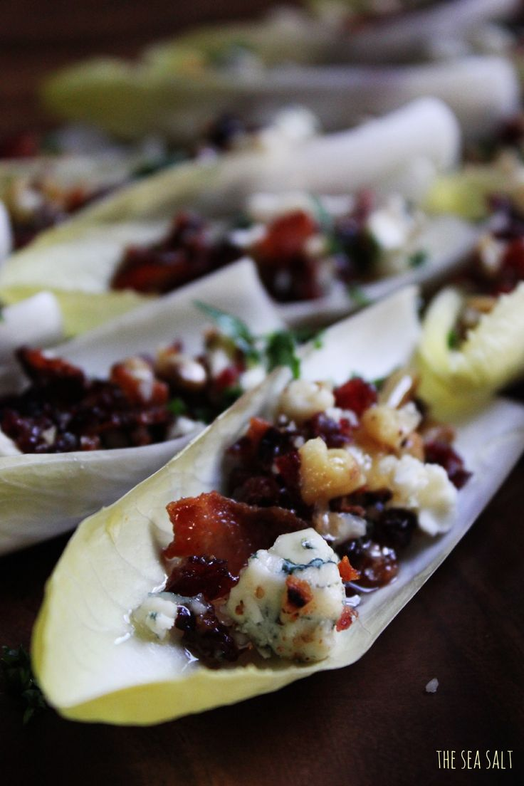 Thanksgiving Appetizer- Endive Boats with Bacon, Walnuts, Cranberries & Gorgonzola