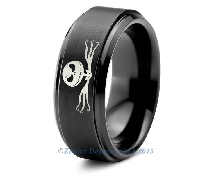 Nightmare Before Christmas Ring Tungsten Wedding Band Mens Womens Beveled Edge Brushed Black Anniversary Engagement Custom Sizes Available