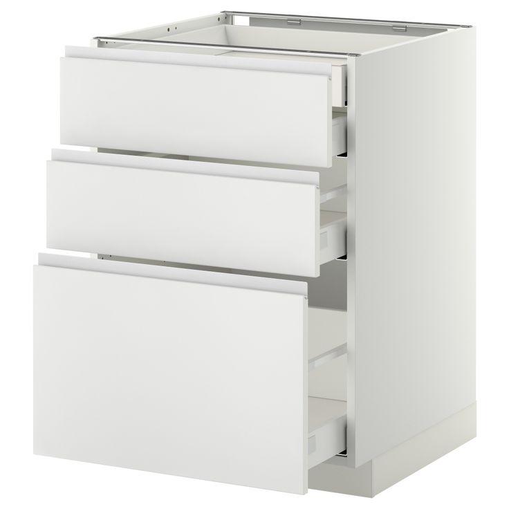METOD/MAXIMERA Élt bas 3faces/2tir bas+1moy+1haut - effet bois noir, Nodsta blanc/aluminium, 60x60 cm - IKEA