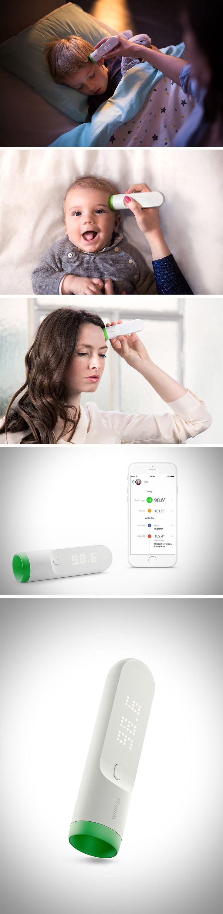 Introducing, Thermo – the Smart Temporal Thermometer! In just 2 seconds, its 16 infrared sensors take over 4000 measurements to determine temperature from the temporal artery (considered the most accurate place to take temperature). You don't even have to make contact with the skin, making it the most sanitary. BUY NOW!