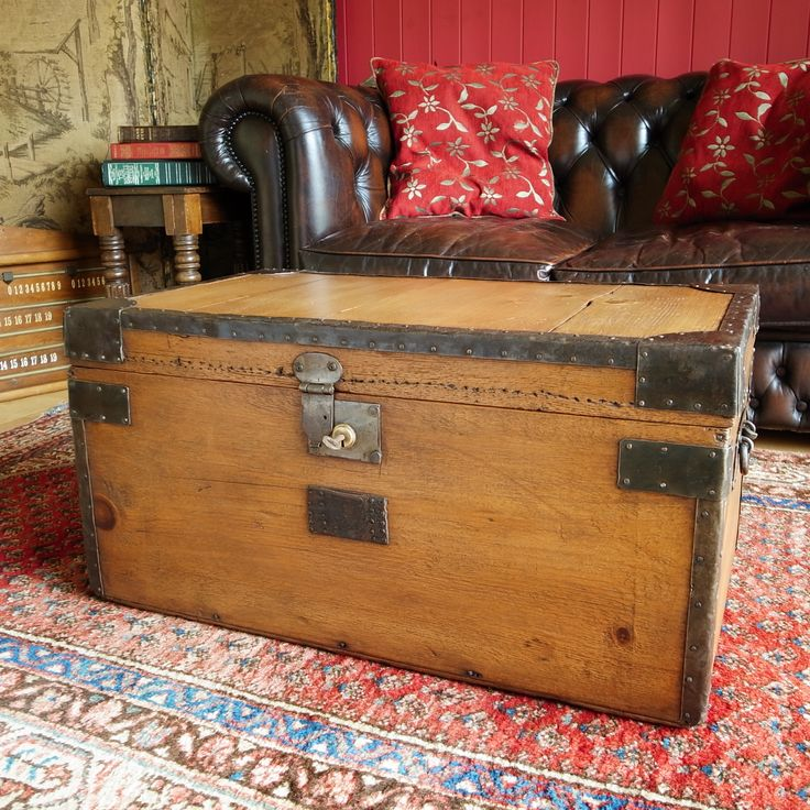 ANTIQUE VICTORIAN TRUNK Storage Chest Coffee Table Country Chest Rustic  Pine Box By VintageTrunksChests On Etsy