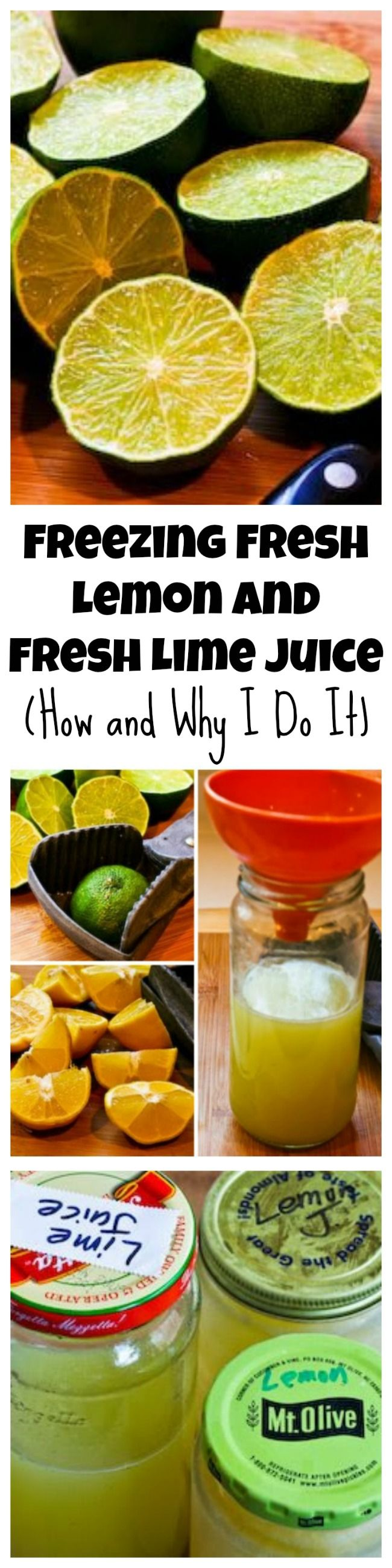 Freezing Fresh Lemon Juice and Fresh Lime Juice; this post tells how and why I am so religious about doing this.  [from KalynsKitchen.com]