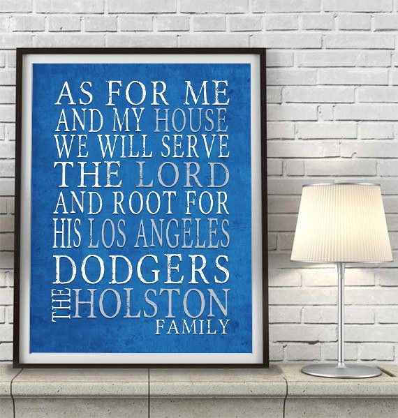 "Los Angeles Dodgers baseball inspired Personalized Customized Art Print- ""As for Me"" Parody- Unframed Print"