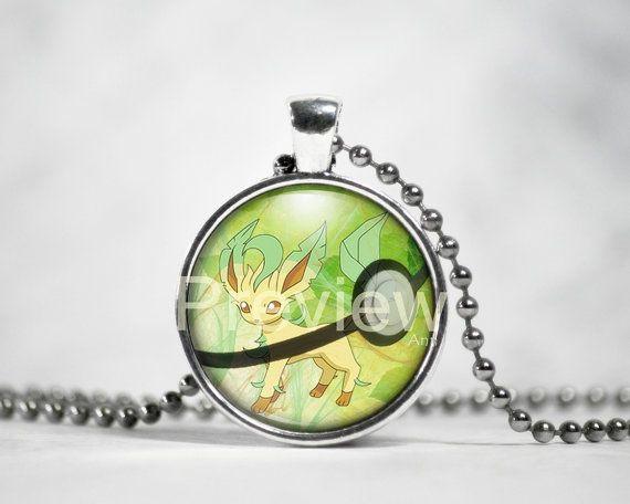 Leafeon Pendant Eevee evolution necklace Pokemon by PokemonyByAnn