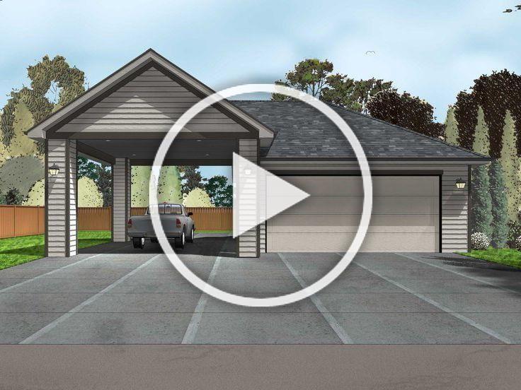 050g 0080 2 Car Garage Plan With Carport Garage Plan Woodworking Plans 2 Car Garage Plans