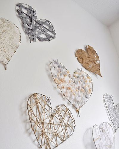 DIY Heart Art Decorations for Valentine's Day- wire hearts wrapped with ribbon/string/burlap.