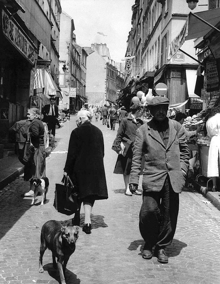 Rue Mouffetard Paris c.1950 ('Le peuple des berges' by Robert Giraud) >>> Spent much of our time on this street during our '07 stay in Paris. Some nice dining choices there.