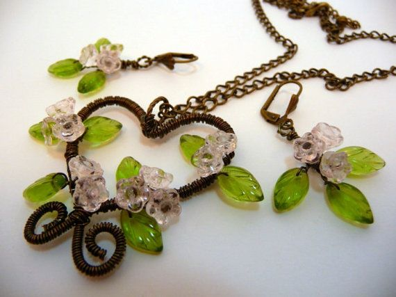 Wire wrapped Necklace and Earrings Setfloral heart by JewelrySong, $59.00