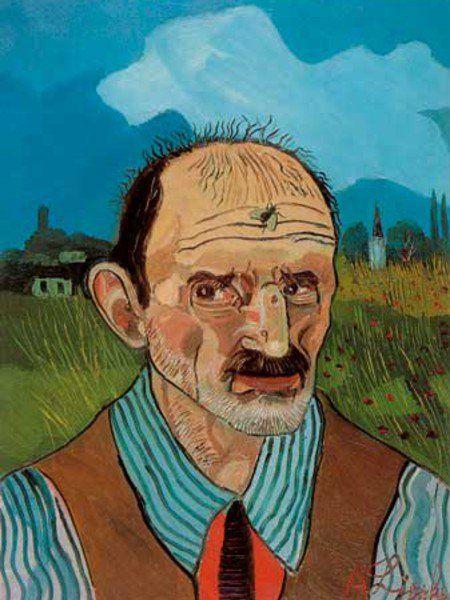 Antonio Ligabue (1899-1965), Autoritratto con mosca [Self-portrait with fly]