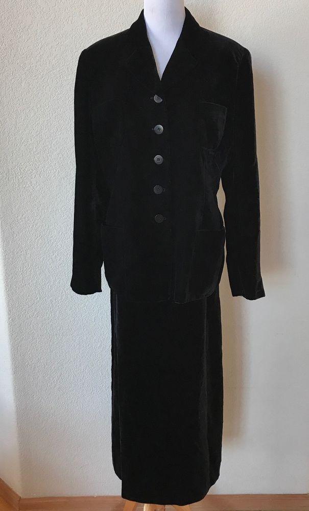 Giorgio Armani Black Velvet Long Sleeve Jacket Long Skirt Suit Italy 44 Women's #GiorgioArmani #SkirtSuit