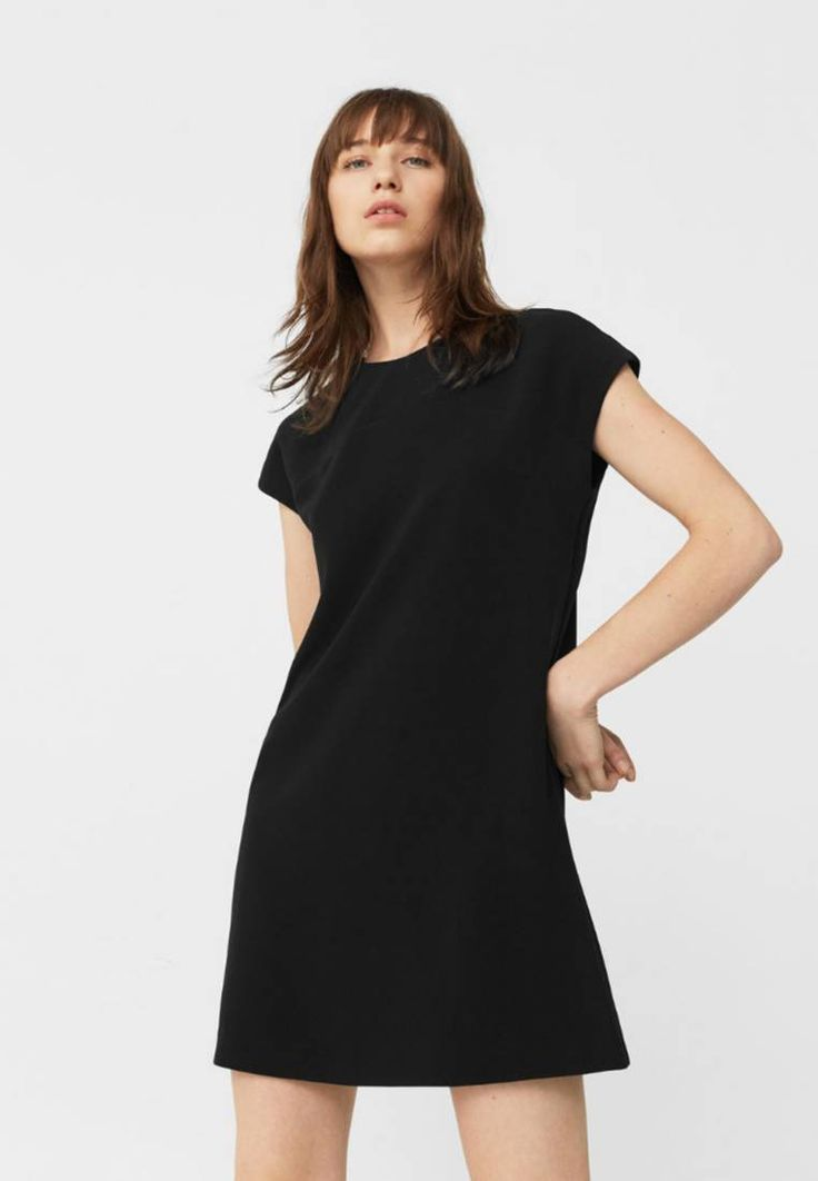 Mango. DART - Summer dress - black. Fit:regular. Outer fabric material:91% polyester, 9% spandex. Pattern:plain. Care instructions:do not tumble dry,machine wash at 30°C. Fastening:zip. Neckline:round neck. Length:short. Sleeve lengt...