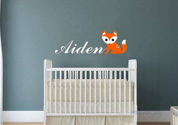 Nursery name wall decals Fox and name wall stencil by WallArtDIY