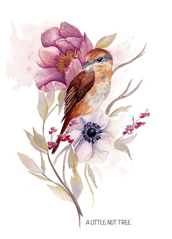 Bird Art Watercolor Print Watercolor Flowers Bird Print