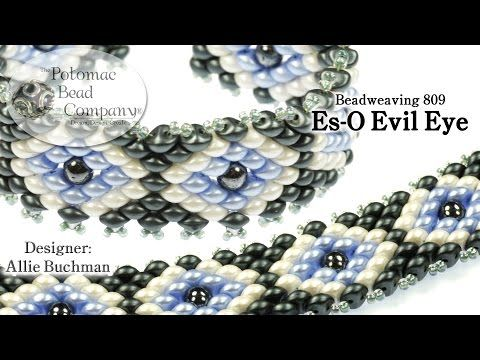Es-O Bead Evil Eye Bracelet - YouTube from Potomac Bead Company, and using Es-O, RounDuo, and Miyuki 11/0 seed beads from www.potomabeads.com