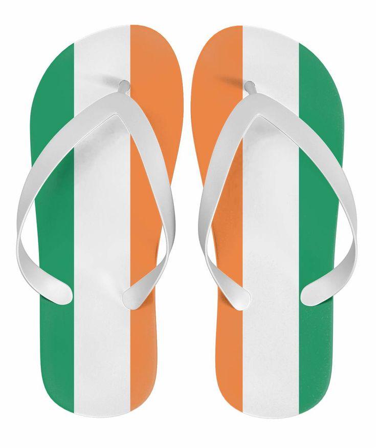 Irish Pride Flip Flops - Ireland Flag. #SaintPatrick'sDay,#Ireland,#Irish,#Shamrock,#PaddyDay,#StPatrick